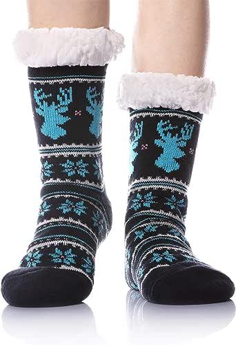WENER Women's Fleece-Lined Non-skid bottoms Cozy Thick Winter Slipper Socks