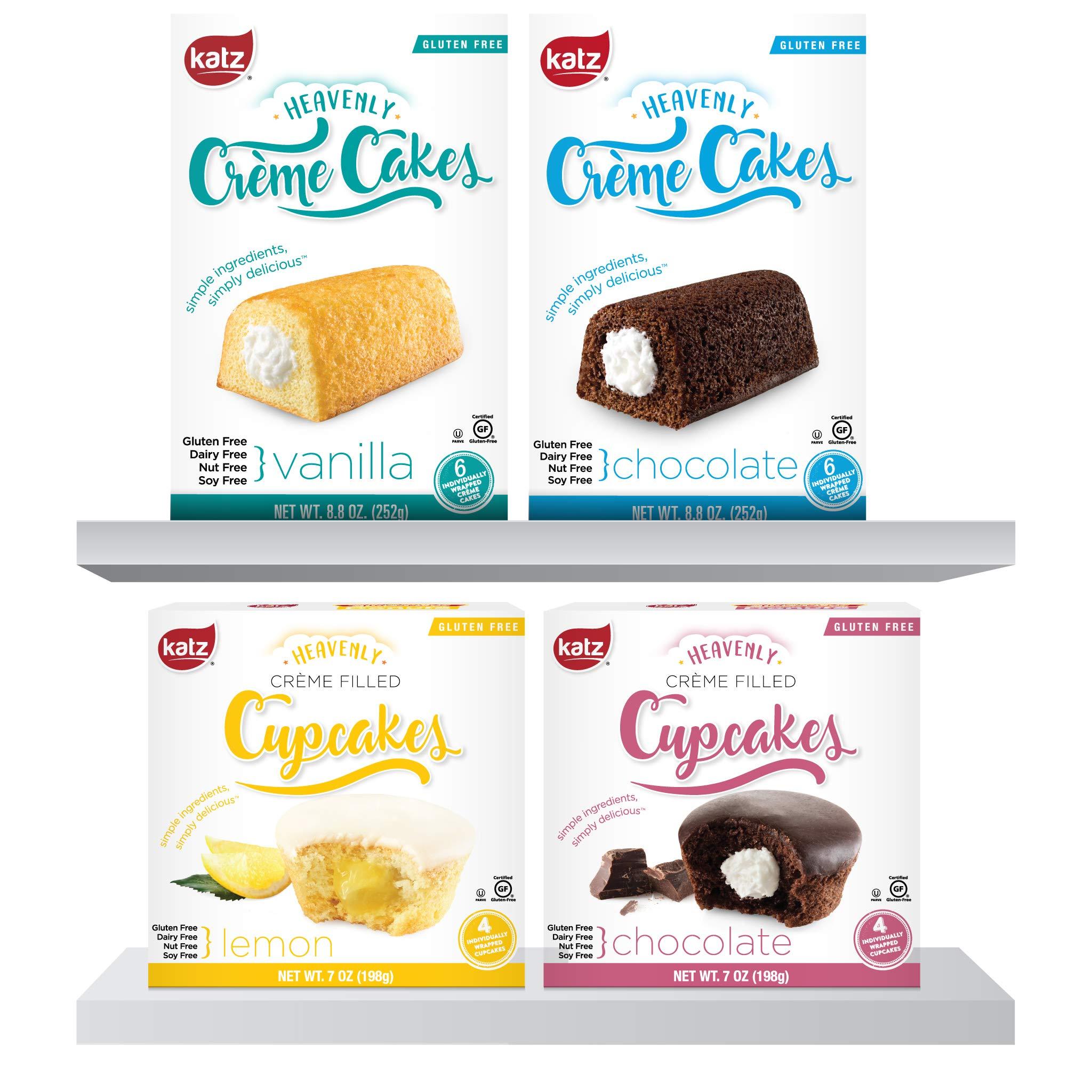 Katz Gluten Free Heavenly Creme Cake Variety Pack | Chocolate & Vanilla Creme Cake, Chocolate & Lemon Cupcake | Dairy, Nut, Soy and Gluten Free | Kosher (1 Pack of each)