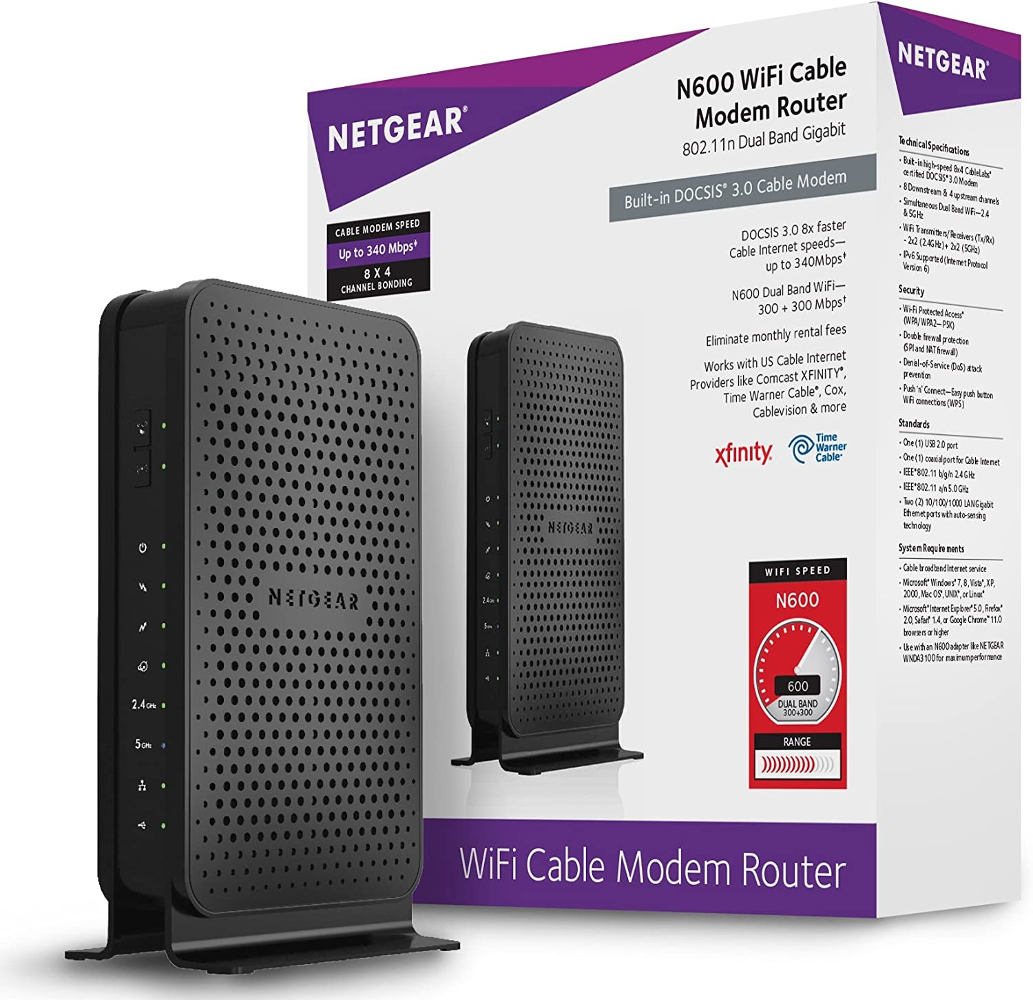 Amazon Com Netgear N600 8x4 Wifi Docsis 3 0 Cable Modem Router C3700 Certified For Xfinity From Comcast Spectrum Cox Spectrum More Computers Accessories