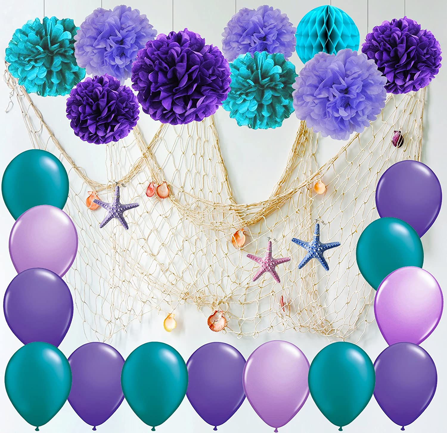 Furuix Mermaid Party Decorations/Under the Sea Party Teal Lavender Purple Tissue Paper Pom Pom Latex Balloons Fish Net with Shells and starffor Mermaid Birthday Decor Baby Shower Decorations (White)