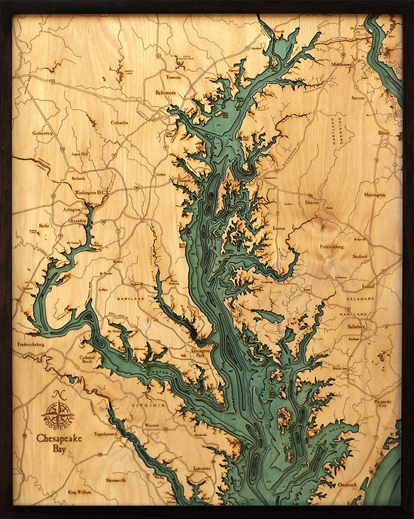 Chesapeake Bay 3-D Nautical Wood Chart, 24.5'' x 31''