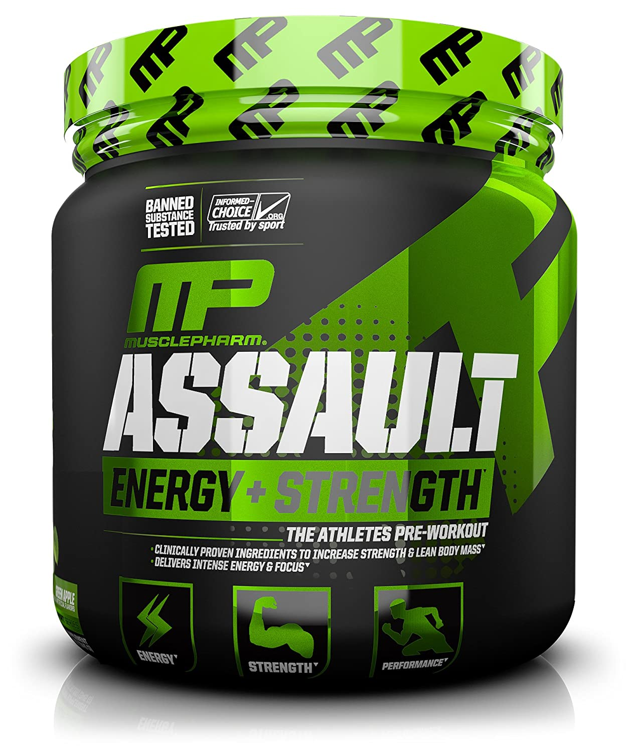 MusclePharm Assault Sport Pre-Workout Powder with High Dose Energy, Focus, Strength and Endurance - Creatine, Taurine and Caffeine, Green Apple, 30 Servings