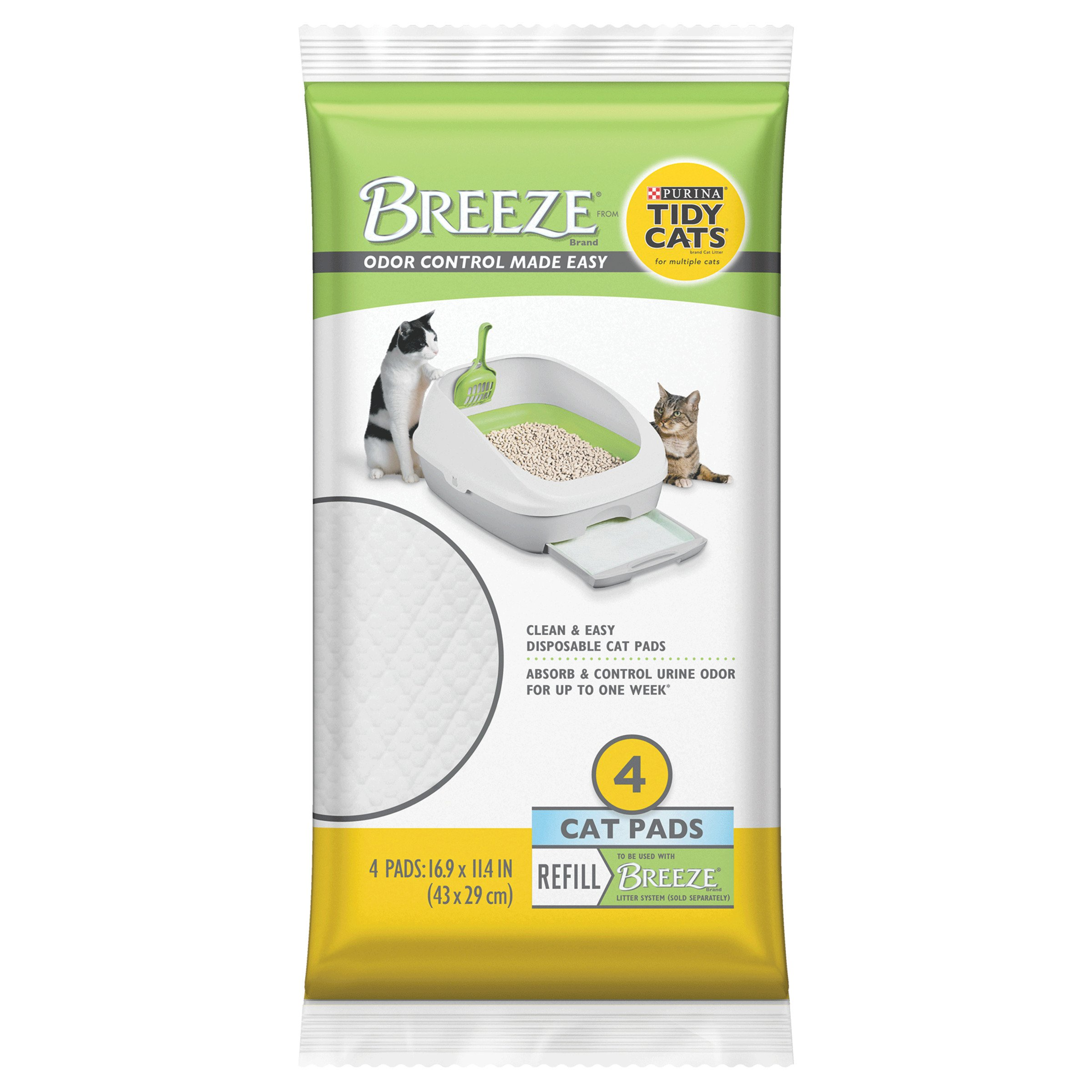 Purina Tidy Cats Breeze Litter System Unscented Cat Pad Refill, 4 Count Pouch, Pack of 10