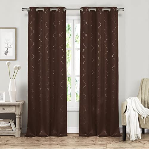Mettalic Geometric Insulated Energy Saving Blackout Window Grommet Top Curtains 37 inch Wide by 84 Long Assorted Colors Set of 2 Panels Room Darkening Drapes – Brown