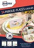 Avery Lot de 24 Marque places Cavalier Imprimables - 8,5x5cm - Jet d'encre - Blanc (C32076MC)