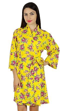 33450d26e3 Bimba Women Short Cotton Floral Robe Getting Ready Bridesmaid Coverup Gift  - Yellow
