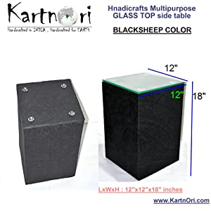 """Kartnori Multipurpose Transparent Glass Top (Bed Side Table , Small Coffee Table) Medium Size Square Side Table 15""""-Without Storage Blacksheep Color"""