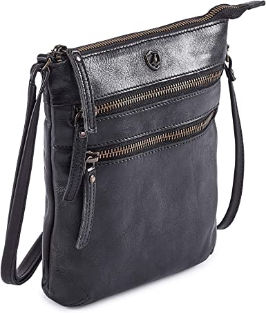 Travel Bag Purse COCHOA Womens Crossbody Real Leather Triple Zip Bag