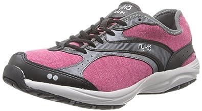 RYKA Women's Dash Stretch Walking Shoe,Bright Maroon/Black/Iron Grey/Chrome Silver,6 M US