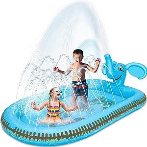 Desuccus Splash Pad Sprinkler for Kids Sprinkle & Splash Play Mat 3 in 1 Inflatable Sprinkler Pool Water Park for Kids Outdoor Water Sprinklers Preschool Toys Children Baby Toddler Pool Boys Girls