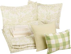 AmazonBasics 10-Piece Comforter Bedding Set, King, Green Vintage Floral, Microfiber, Ultra-Soft