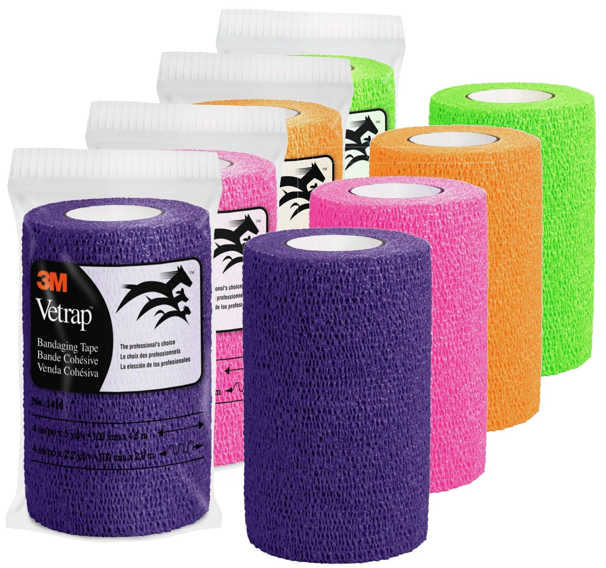 3M Vetrap 4'' Bright Color Bandaging Tape, 4''x 5 Yards, 3M Box, 12 Roll Case (Bright Color Combo)