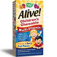 Nature's Way Alive! Children's Premium Chewable Multivitamin, Gluten Free, 120 Chewable...
