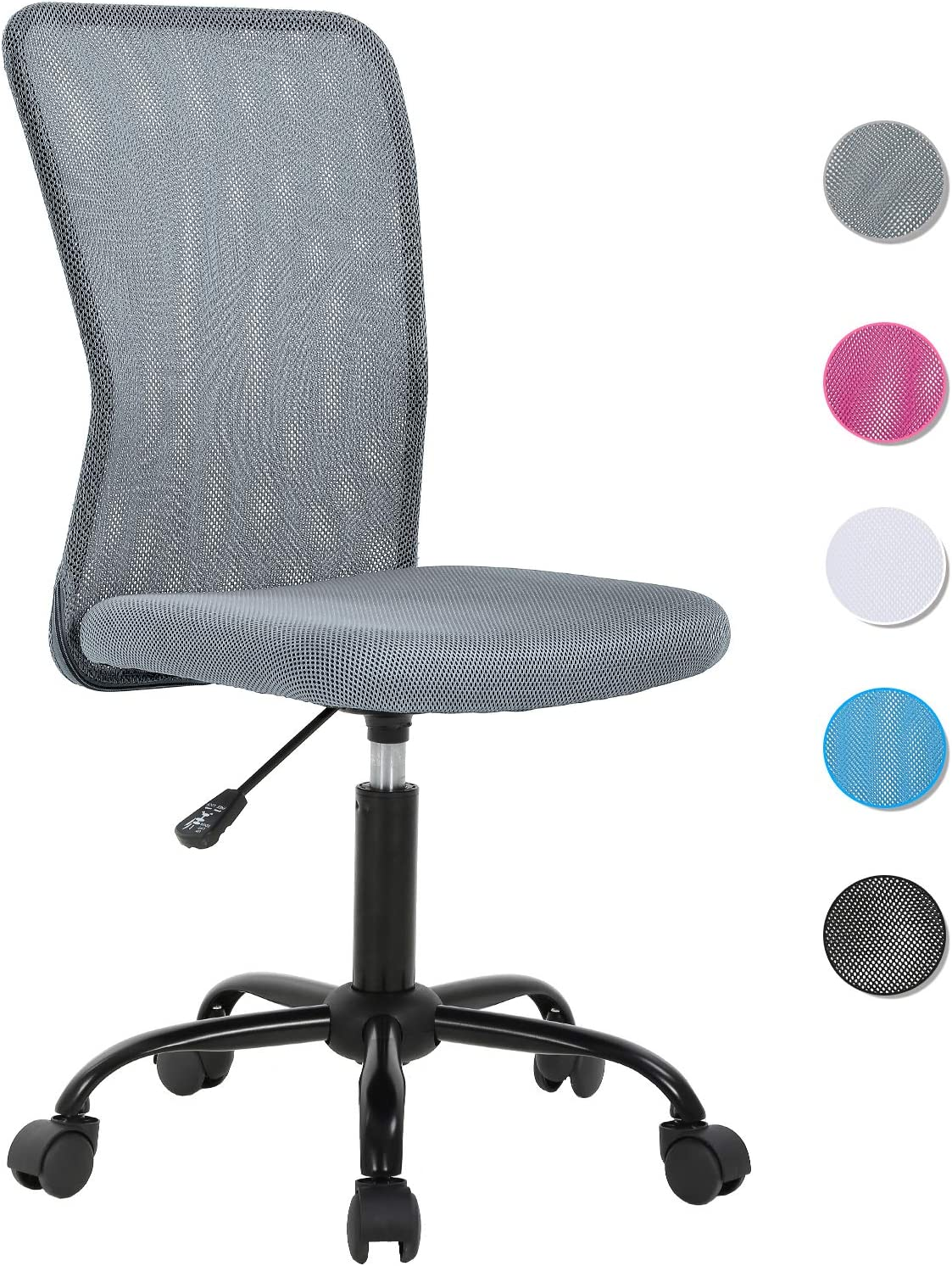 Ergonomic Office Chair Mesh Computer Chair Small Desk Chair Back Support Lumbar Support Modern Executive Adjustable Chair Mid Back Task Rolling Swivel Chair with Wheels Armless (Grey)