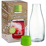 Trinkflasche aus Glas 0,3 Liter von Neuronade® | stabiles Borosilikatglas & 100% BPA frei | praktische Glasflasche für unterwegs im Retap Design, inkl. Deckel