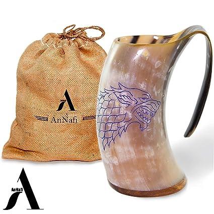 Divit Genuine Viking Drinking Horn Mug 24oz capacity Highest quality horn Cup//Stein. Authentic Medieval Beer Horn Tankard