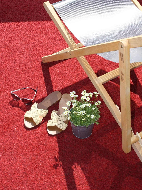 Rot MUSTER Vlies-Rasenteppich mit Noppen Premium Rasenteppich f/ür Balkon Meterware GREEN Outdoor Teppich Balkon Bodenbelag