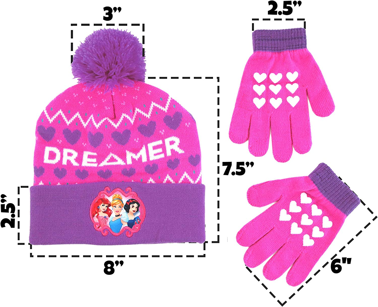 Disney Girls Princess Character Hat and Gloves Cold Weather Set Winter Accessory Age 4-7 Pink//Purple