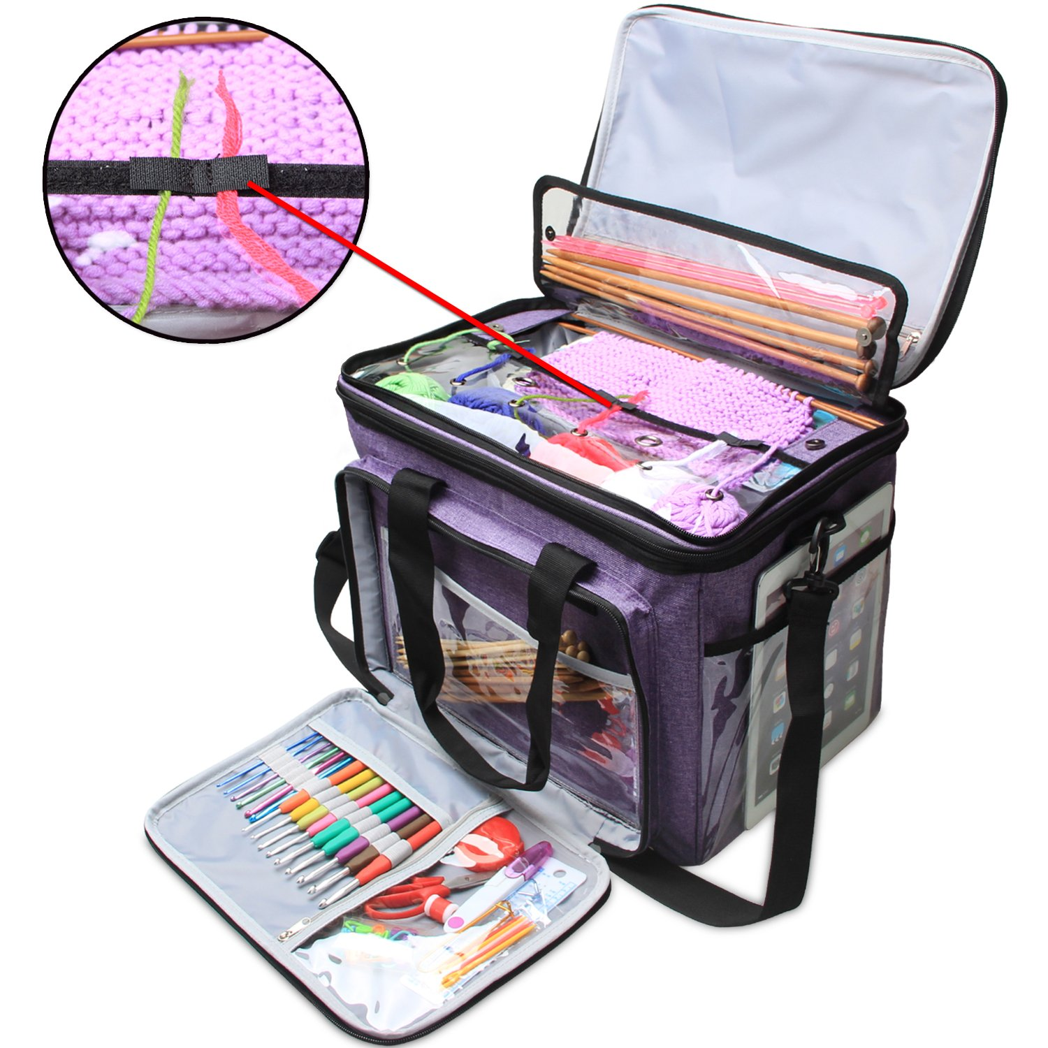 Teamoy Knitting Bag, Yarn Tote Organizer with Cover and Inner Divider (Sewn to Bottom) for Crochet Hooks, Knitting Needles(up to 14''), Project and Supplies, Purple(No Accessories Included)