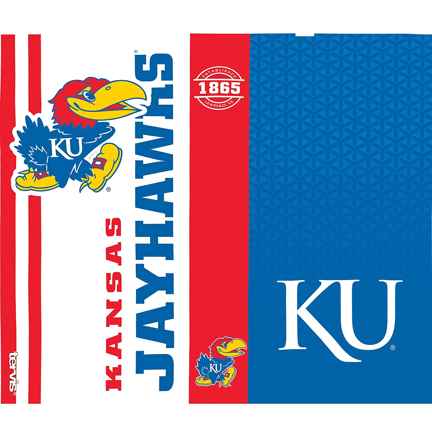 Tervis 1220737 Kansas Jayhawks College Pride Tumbler with Wrap and Blue with Gray Lid 24oz Water Bottle Clear