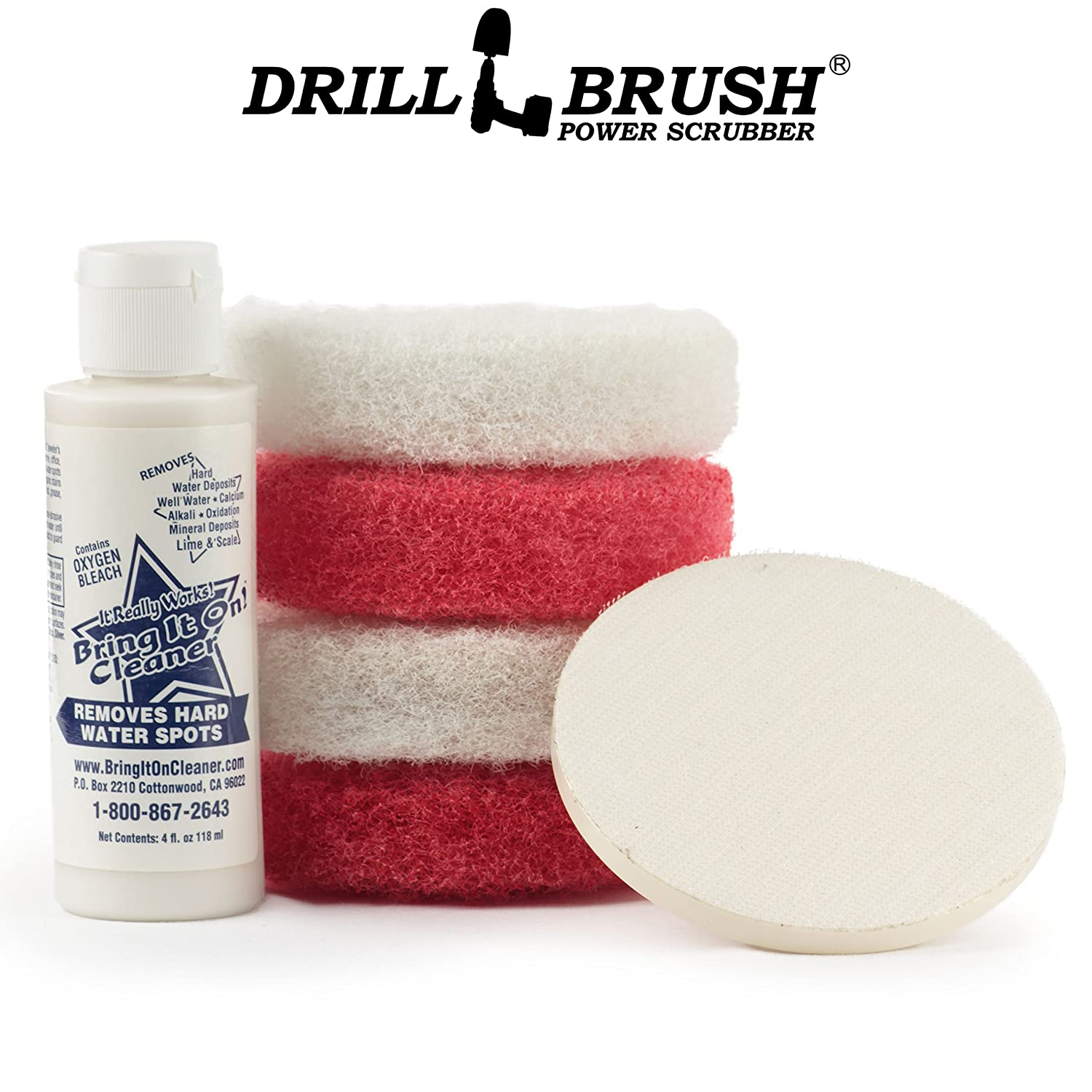 Drillbrush 4Inch Red And White Scrub Pads With Driver And