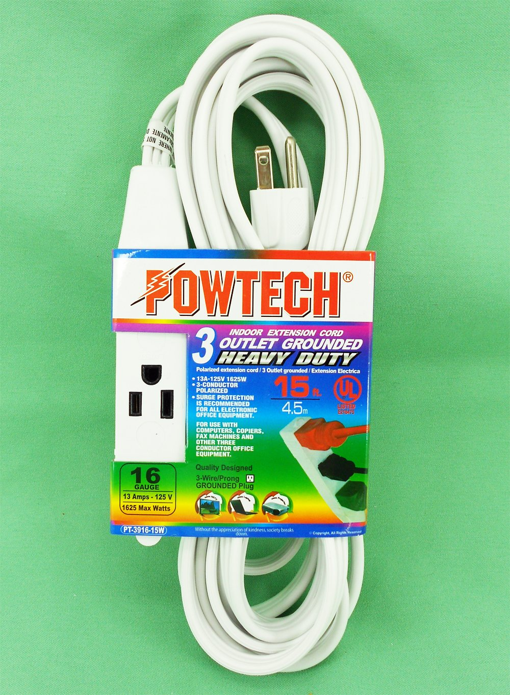 Powtech Heavy Duty 3 Outlet Grounded Indoor Home Office Extention Polarized Wiring Cord 12 Feet 16 Gauge Spt Awg 125v 1625 Watt Conducter