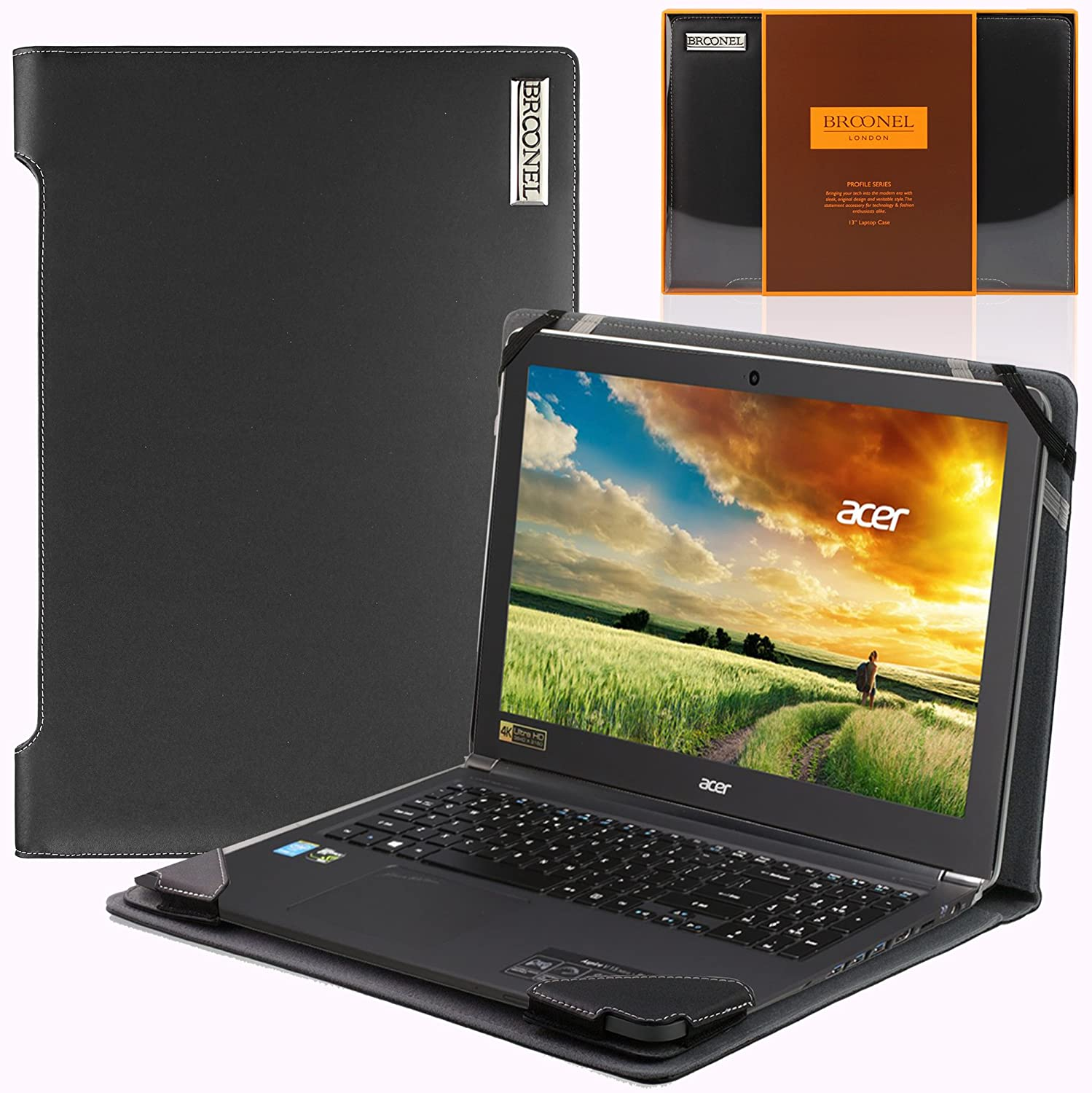 Broonel London - Profile Series - Black Vegan Leather Luxury Laptop Case Cover Sleeve Compatible with The Acer Aspire V15 Nitro & Acer Aspire V1 Nitro Black Edition