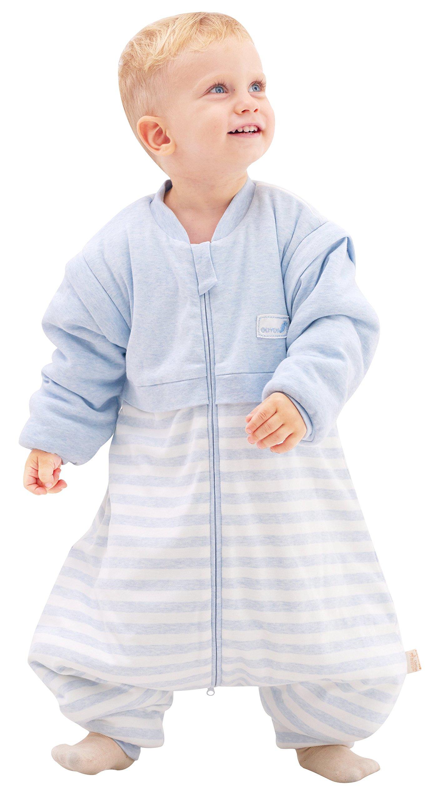 OuYun Baby Early Walker Sleeping Bag with Feet Detachable Sleeve Wearable Blanket Spring&Autumn, Blue, XX-Large