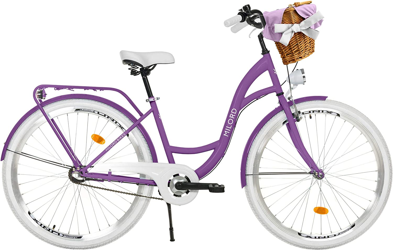 Bicicleta de Confort Negro y Rosa de 3 Velocidad y 26 Pulgadas con Soporte Trasero Bicicleta Urbana Bicicleta Holandesa Bicicleta para Mujer Vintage Milord Retro