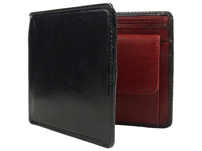 Cartera de Piel Hombre Torino colección by Visconti Regalo En Caja Elegante Negro Black with Red: Amazon.es: Ropa y accesorios