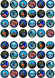 48 Finding Nemo Dory Edible PREMIUM THICKNESS SWEETENED VANILLA, Wafer Rice Paper Cupcake Toppers/Decorations