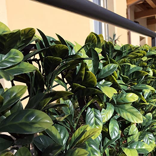 vert feuilles 3D artificielles Tenax Divy Plus Laurus Haie synth/étique 1,00 x 3 m sur filet en plastique type Lauro