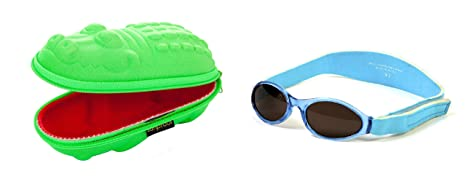 Coffret cadeau de bébé Lunettes de soleil Etui Vert Crocodile et bleu aqua  BabyBanz Lunettes de 01ba040b2718