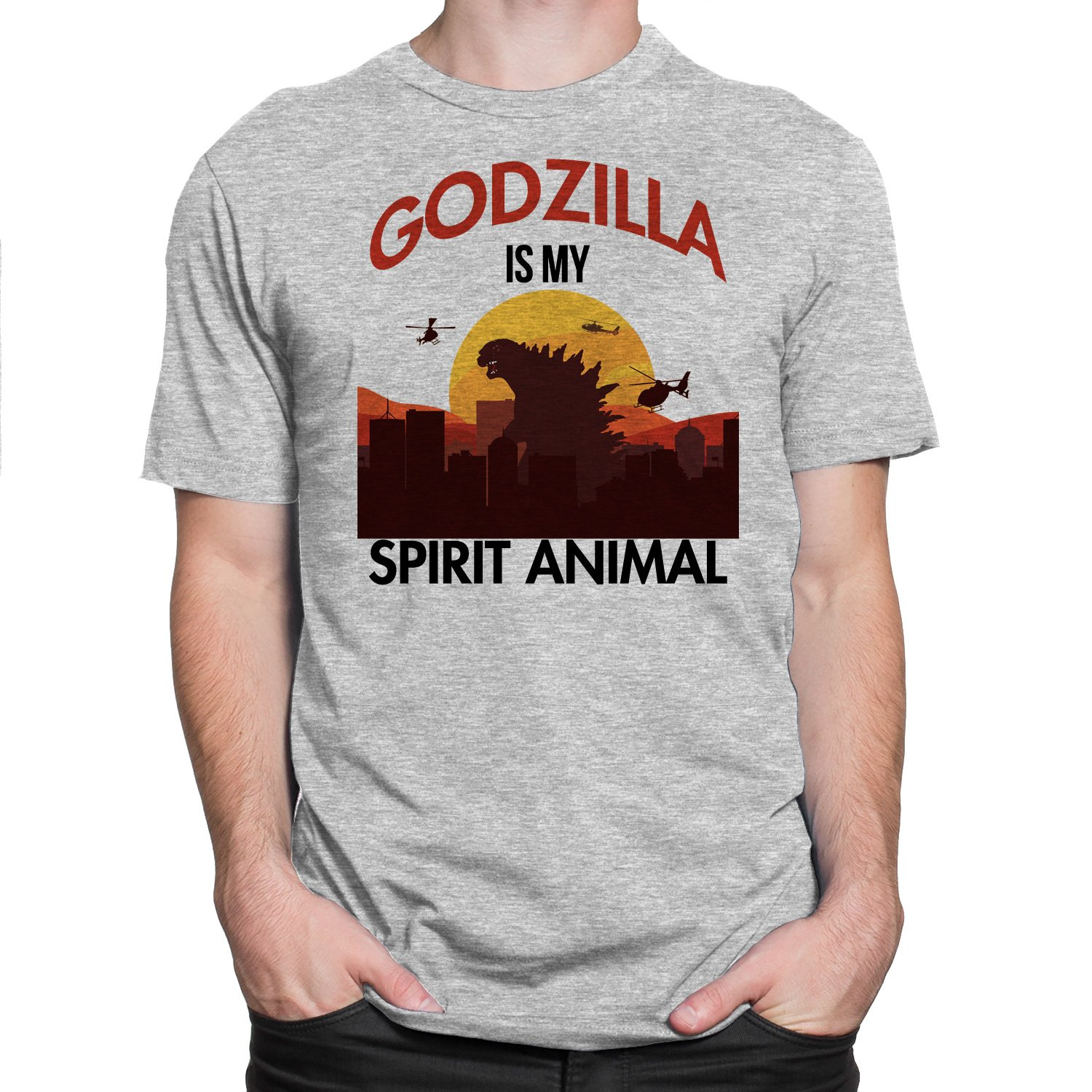 c41d3a6d Godzilla Is My Spirit Animal Mens Tee Graphic T-shirt White,Grey Casual  S-3XL Apparel