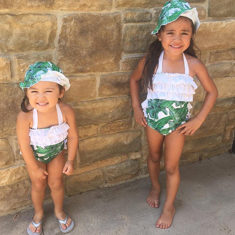 Toddler Kids Baby Girls Swimsuit Leaf Ruffles Swimwear Halter Bathing Suit 2PCS Bikini with Sun Hat Summer Clothes Set