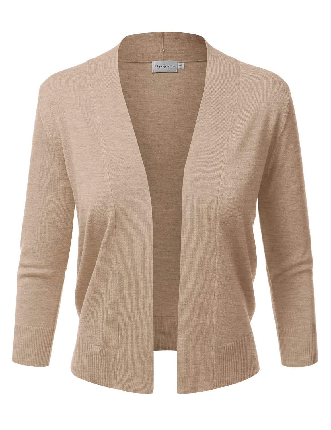 JJ Perfection Women's Basic 3/4 Sleeve Open Front Cropped Cardigan Khaki L