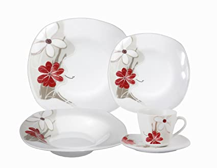 Lorenzo Import Porcelain 20-Piece Square Dinnerware Set Service for 4 Red  sc 1 st  Amazon.com & Amazon.com | Lorenzo Import Porcelain 20-Piece Square Dinnerware Set ...