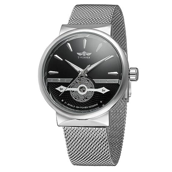 Forsining Hombres Pulsera Relojes pulsera de acero inoxidable clásico de esqueleto automático para hombre marca reloj de lujo: Amazon.es: Relojes