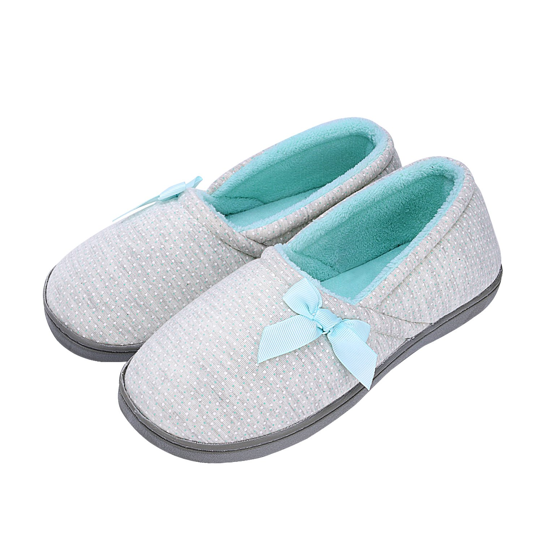 KushyShoo Women Soft Cozy Cotton Anti-Slip House Slippers Knit Machine Washable Home Flats
