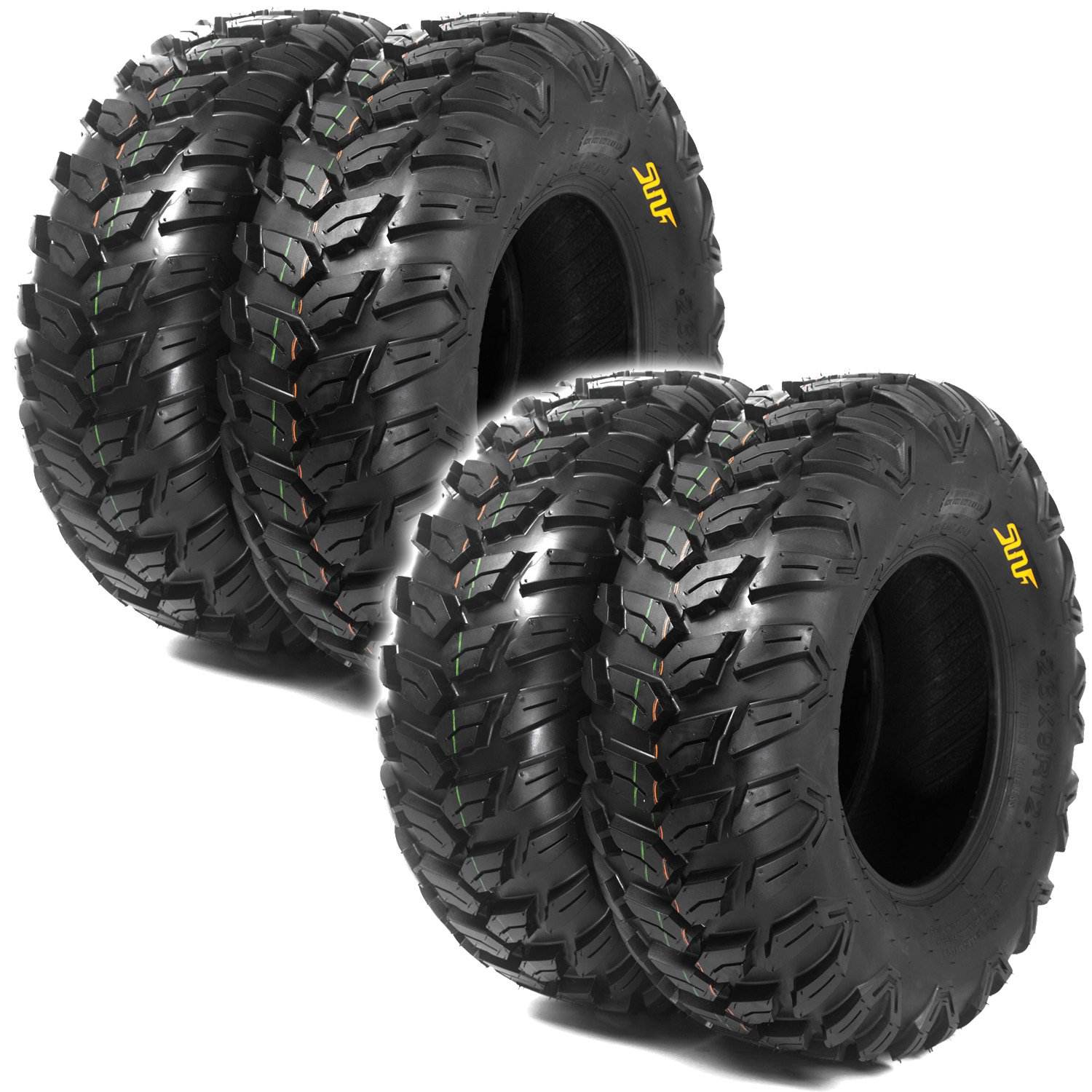 Set of 4 SunF A043 ATV Tires 26x9-14 & 26x11-14, 6PLY Front&Rear