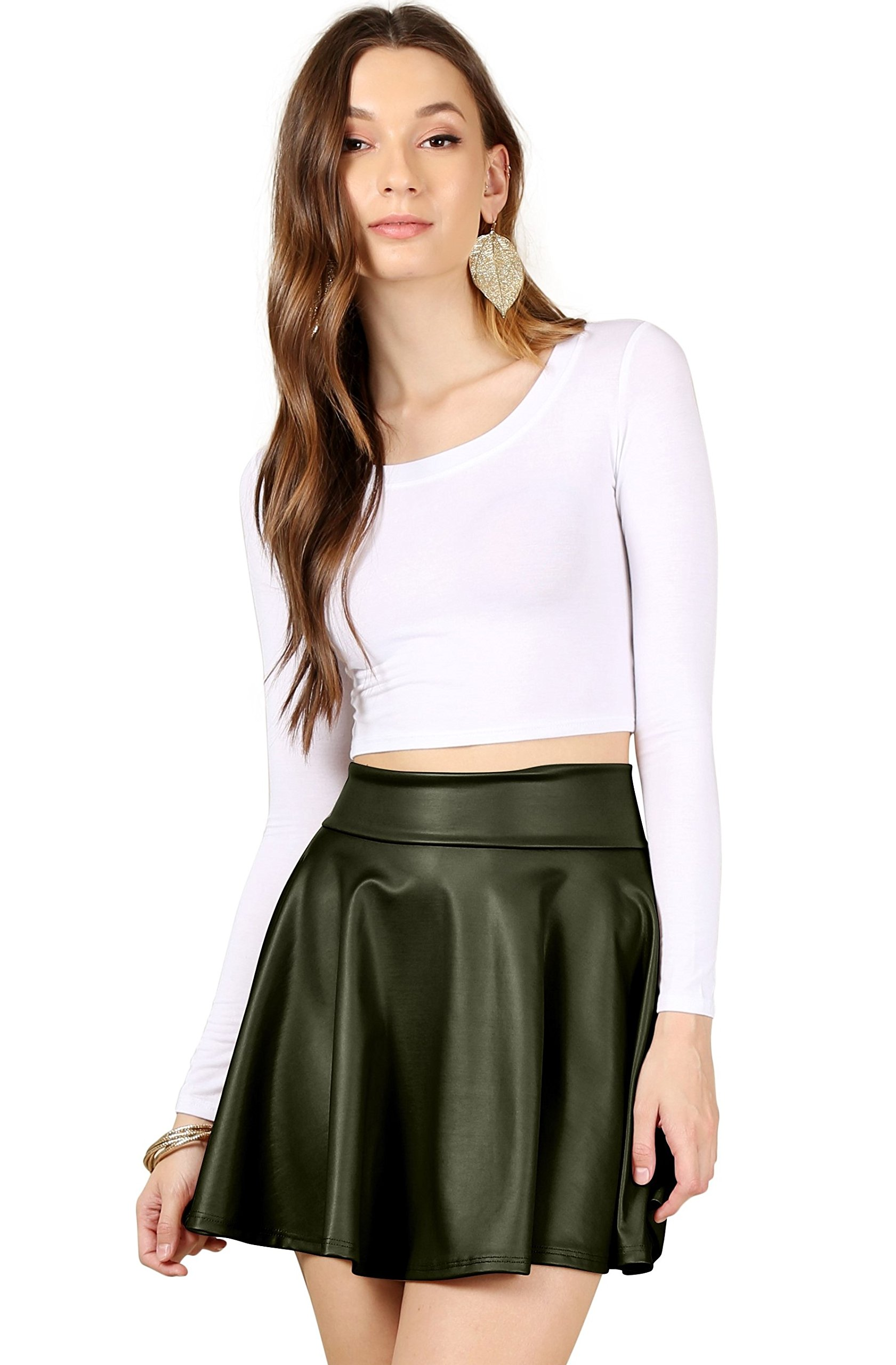 0b1b8f9192 Simlu Womens Faux Leather reg and Plus Size Short a Line Mini Skater Skirt  - Made in USA, Olive Leather, Large