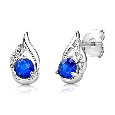 ByJoy Earrings for Women Sterling Silver dangle Blue Sapphire 925 Silver 0Xjtv77NqG