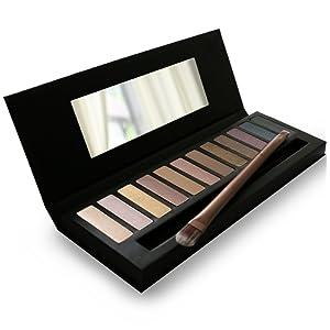 La meilleure palette de fards à paupières 12 couleurs - Très pigmentée pour un maquillage naturel, bronzé, scintillant ou œil charbonneux - Brosse pour fard à paupières double GRATUITE et guide de maquillage des yeux étape par étape inclus