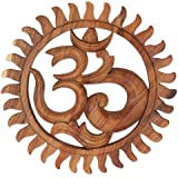 NOVICA Brown Hand Crafted Suar Wood Relief Panel, 'Sunny Om'