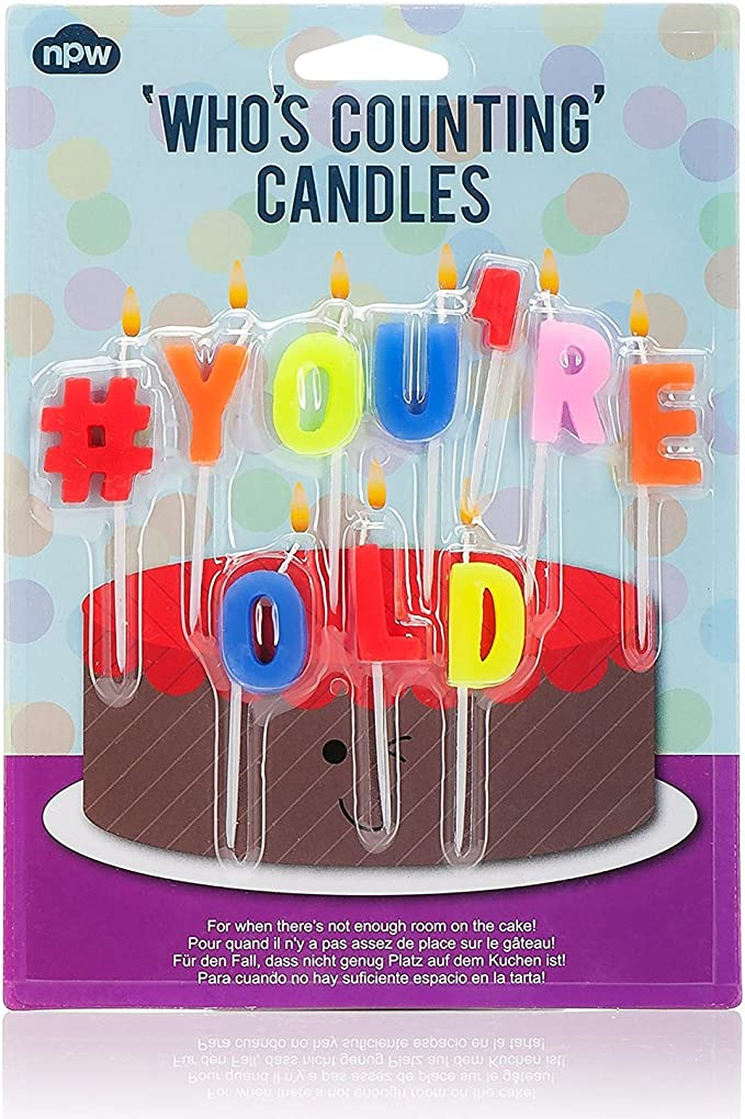 Amazon.com: NPW – Vela de cumpleaños Hashtag # You re old ...