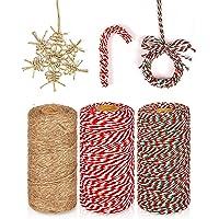 KAHEIGN 3 Stks Kerst Jute Snaren en Katoen Touw Rolls, 984 Voeten Rood Wit Groen Katoen String Jute Touw Koord voor Xmas…