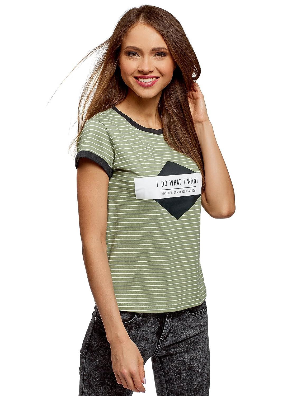 oodji Ultra Donna T-Shirt a Righe con Stampa su Petto