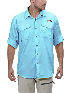 f02b71a3 Little Donkey Andy Men's UPF 50+ UV Protection Shirt, Long Sleeve Fishing  Shirt,