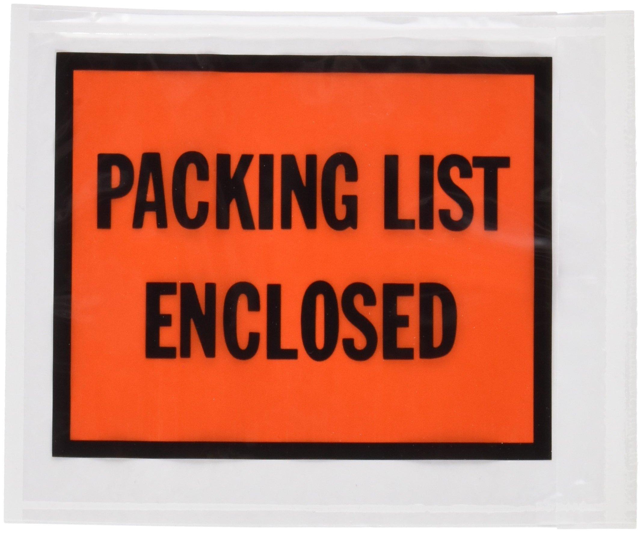 Quality Park 46895 Full-print front self-adhesive packing list envelopes, bright orange, 100/box