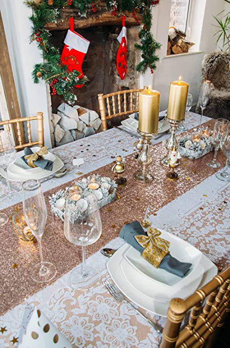Gold Glamour Christmas Table Decoration Set up to 12 guests & Gold Glamour Christmas Table Decoration Set up to 12 guests: Amazon ...